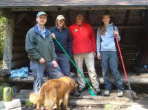 Pat, Julie, Miranda, and Colden (the dog) at Tirrell Pond Lean-to