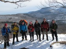 Leader, Mark, with Rich, Erik, Karen, Mike, Mike, Pat, and John on top of Windham.